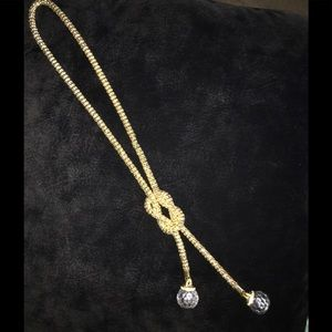 Gold Tone - (Clear) Crystal Pendant Drop Necklace